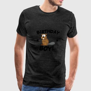 Birthday Boy Cartoon Beaver - Men's Premium T-Shirt
