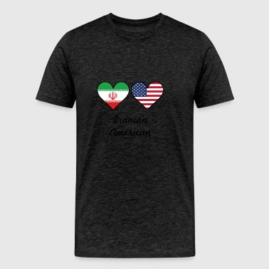 Iranian American Flag Hearts - Men's Premium T-Shirt