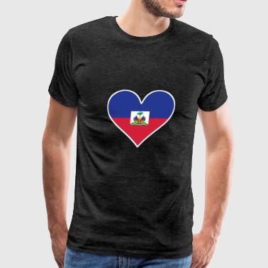 Haitian Flag Heart - Men's Premium T-Shirt