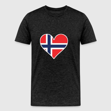 Norwegian Flag Heart - Men's Premium T-Shirt