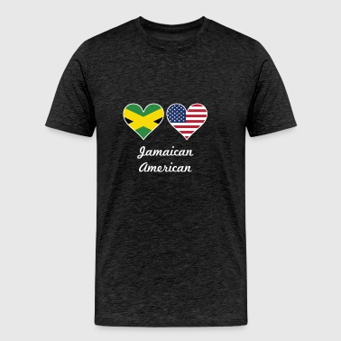Jamaican American Flag Hearts - Men's Premium T-Shirt