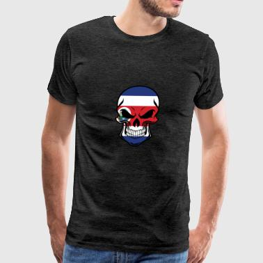 Costa Rican Flag Skull - Men's Premium T-Shirt