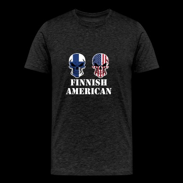 Finnish American Flag Skulls - Men's Premium T-Shirt
