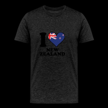 I Love New Zealand Kiwi Flag Heart - Men's Premium T-Shirt