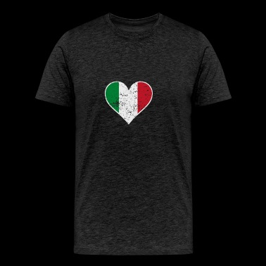 Distressed Italian Flag Heart - Men's Premium T-Shirt