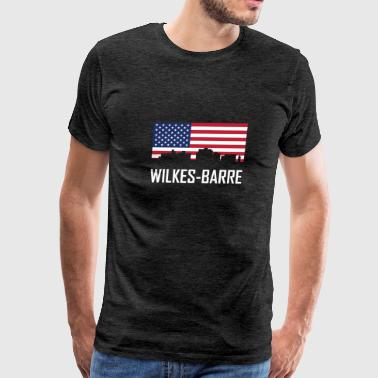 Wilkes-Barre Pennsylvania Skyline American Flag - Men's Premium T-Shirt