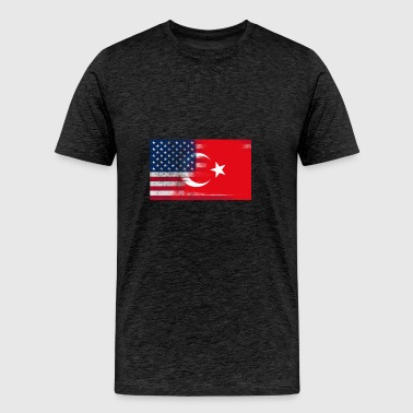 Turkish American Half Turkey Half America Flag - Men's Premium T-Shirt
