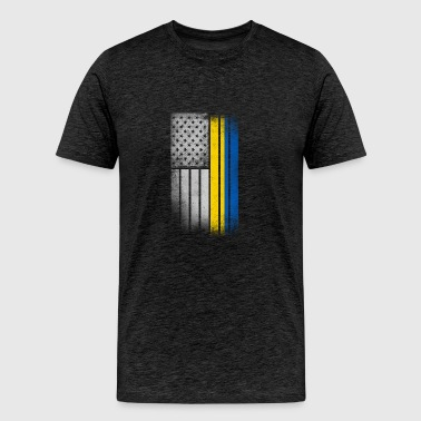 Ukrainian American Flag - Men's Premium T-Shirt
