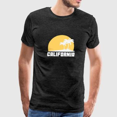 California Sunset Palm Trees Beach - Men's Premium T-Shirt
