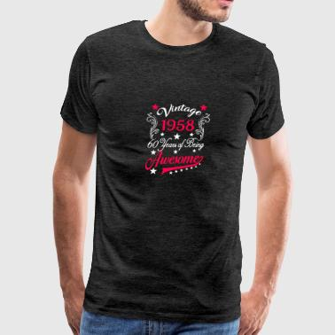Womens 60th Birthday T-Shirt Vintage 1958 60 Years Of Awesome Tee - Men's Premium T-Shirt