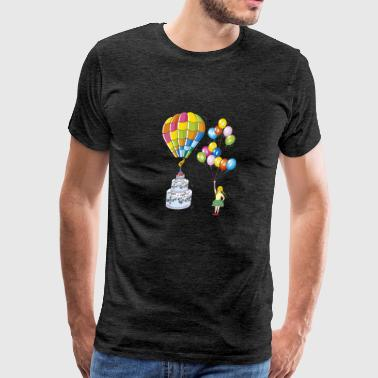 Birthday cake with hot air balloon - Men's Premium T-Shirt