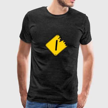 I warning danger sign scratch old road sign cautio - Men's Premium T-Shirt