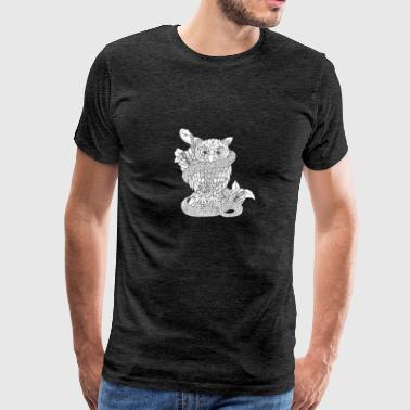 Hand Drawing - Owl with snake - Men's Premium T-Shirt