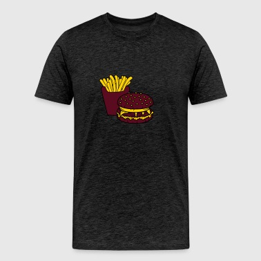 fries hamburger cheeseburger burger fast food deli - Men's Premium T-Shirt