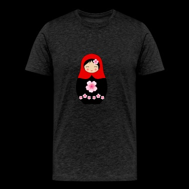 Red Matryoshka doll with flowers - Men's Premium T-Shirt