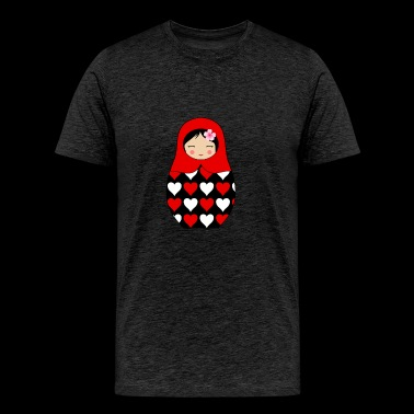 Red Matryoshka doll with hearts - Men's Premium T-Shirt