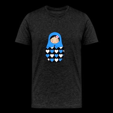 Blue Matryoshka doll with hearts - Men's Premium T-Shirt