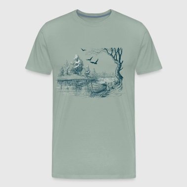 Boat on the river bank - Men's Premium T-Shirt