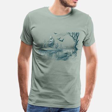 River Boat Boat on the river bank - Men's Premium T-Shirt