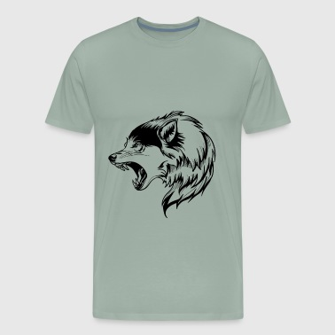 wolf angry face - Men's Premium T-Shirt