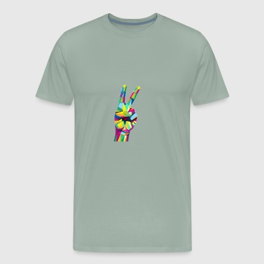 Colorful Victory hand sign - Men's Premium T-Shirt