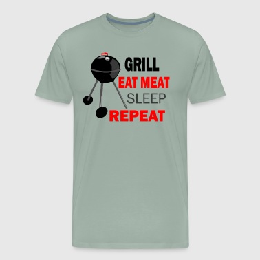 Utensil grill eat meat sleep repeat - Men's Premium T-Shirt