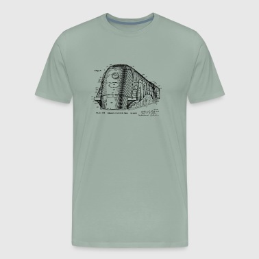 Passenger 1939 Train Locomotive Patent Blueprint - Men's Premium T-Shirt