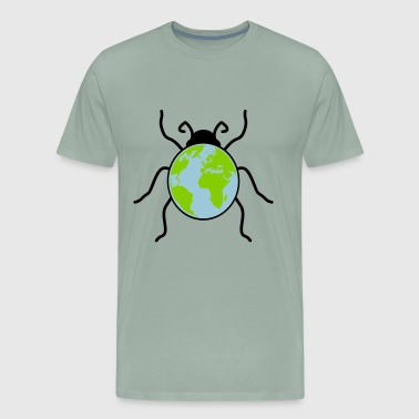 earth planet map ladybug small sweet cute red dots - Men's Premium T-Shirt
