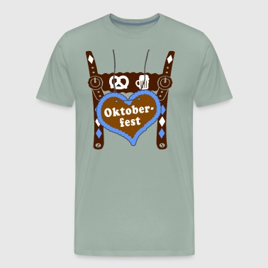 gingerbread wiesn Lederhose heart man gift - Men's Premium T-Shirt