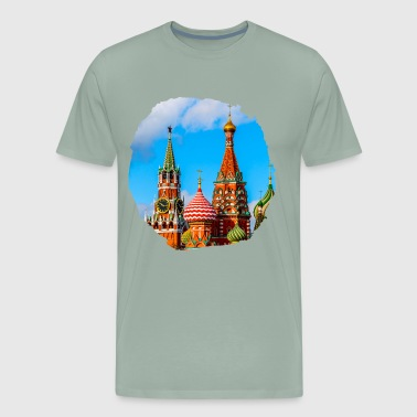 Moscow Kremlin and St. Basil Cathedral - Men's Premium T-Shirt