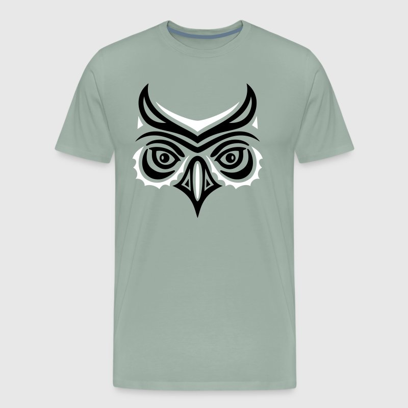 Big owl head in Haida tattoo style. Owl face. - Men's Premium T-Shirt