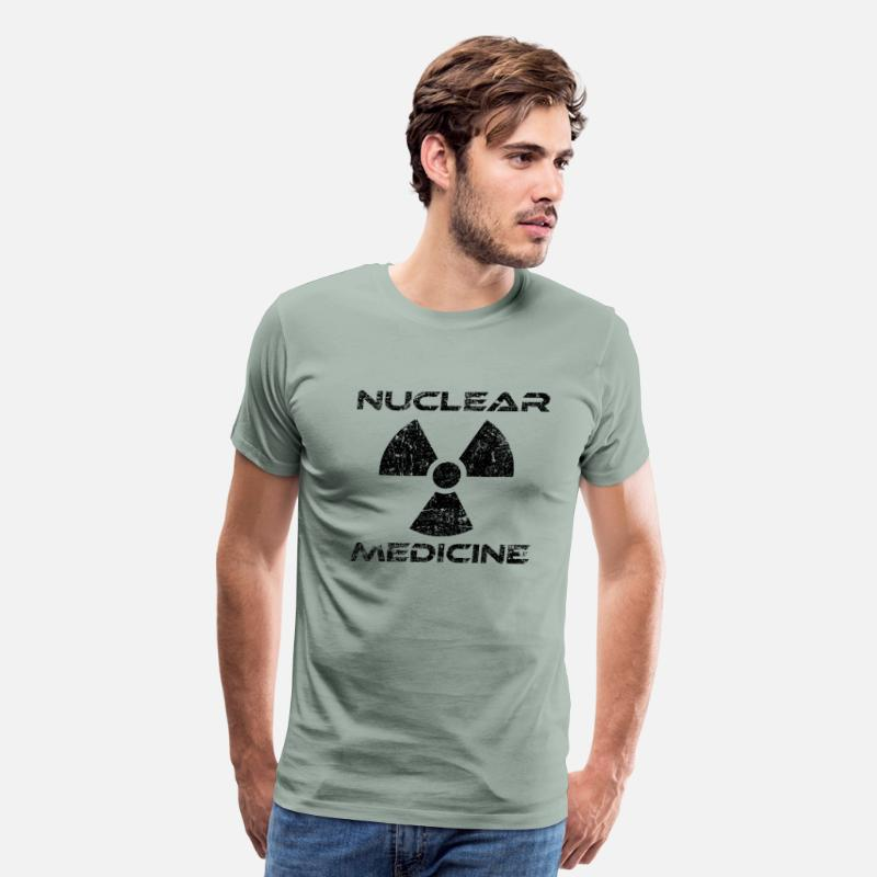 Radioactive T-Shirts - Nuclear Medicine Black Radioactive Logo - Men's Premium T-Shirt steel green