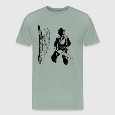 Forestry worker with oak tree - Men's Premium T-Shirt