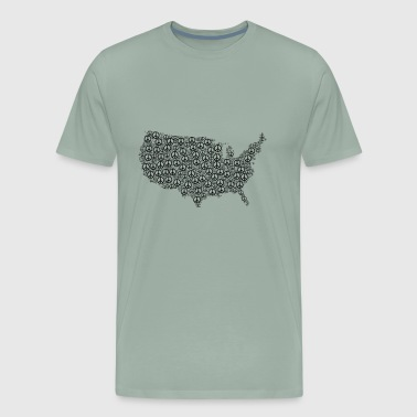 us map made up using the symbol of peace tshirt - Men's Premium T-Shirt