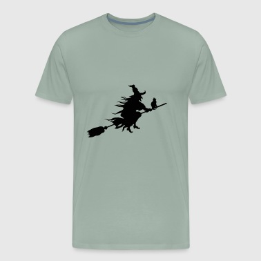 witch with a cat on a broom stick - Men's Premium T-Shirt