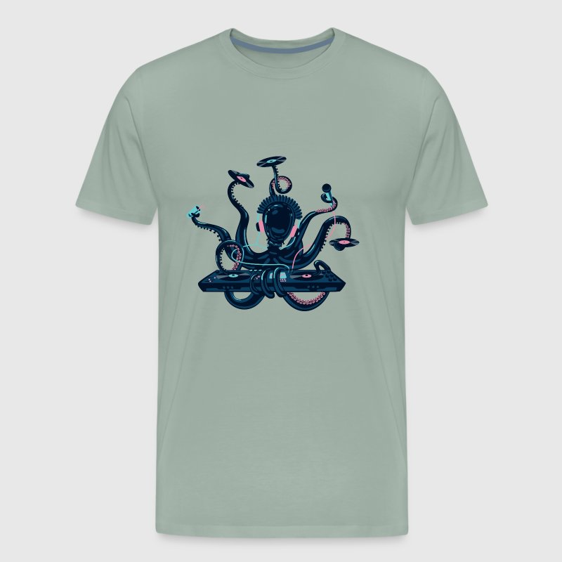 Dj Octopus sea monster animal vector cartoon image - Men's Premium T-Shirt