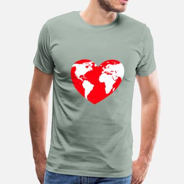 Mother Earth HEART LOVE PLANET MOTHER EARTH - Men's Premium T-Shirt