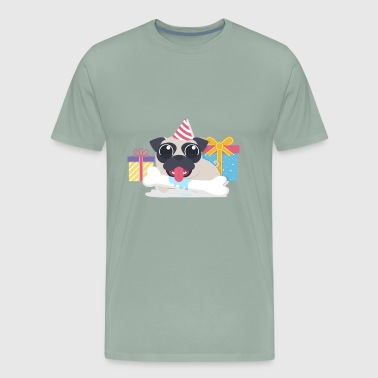 Funny pug at birthday party - Men's Premium T-Shirt