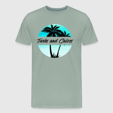 Turks and Caicos Caribbean Palm Trees Souvenir Vacation Travel Design - Men's Premium T-Shirt