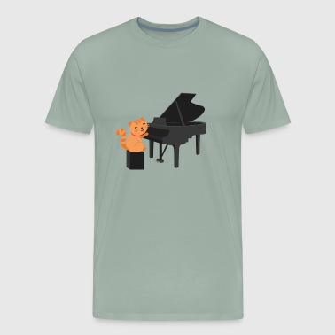 Cute Cat Playing Piano - Men's Premium T-Shirt