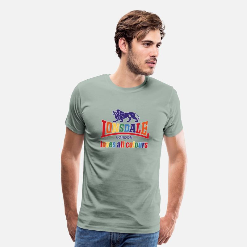 Lonsdale T-Shirts - Lonsdale Loves All Colours - Men's Premium T-Shirt steel green