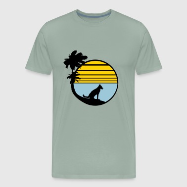 holiday beach palm vacation sea sun seat sitting d - Men's Premium T-Shirt