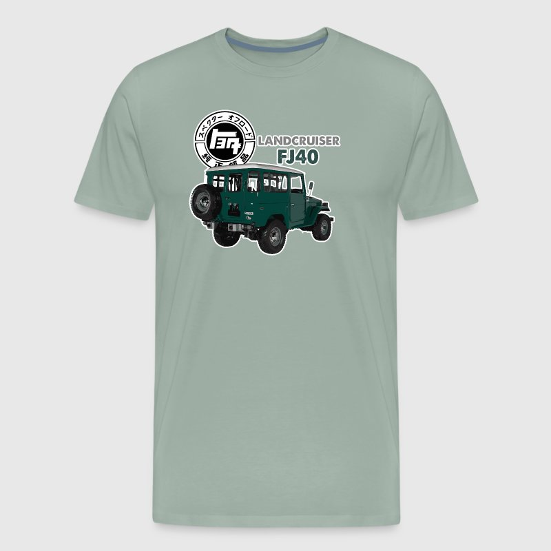 GREEN PRISTINE FJ40 WITH RETRO LOGO - Men's Premium T-Shirt