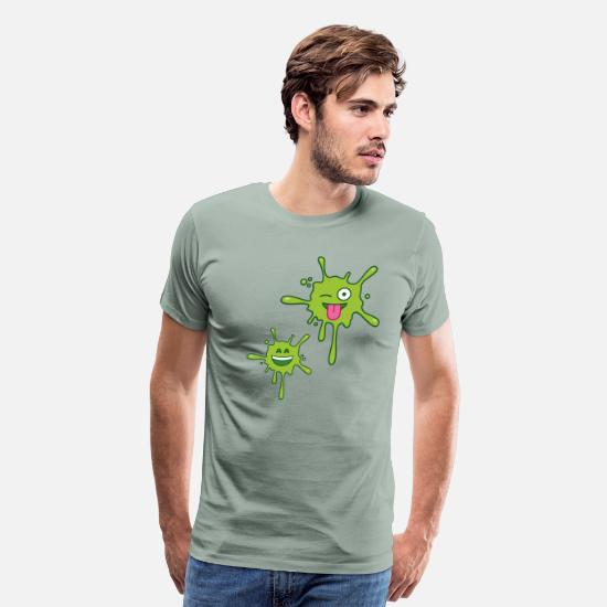 Stains T-Shirts - Green Stains Emojis V2 - Men's Premium T-Shirt steel green