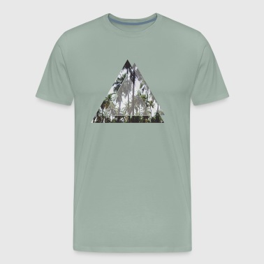 Palm tree, sky in a geometric signs - Men's Premium T-Shirt
