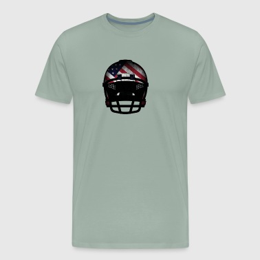 USA Flag on Football Helmet in used look - Men's Premium T-Shirt