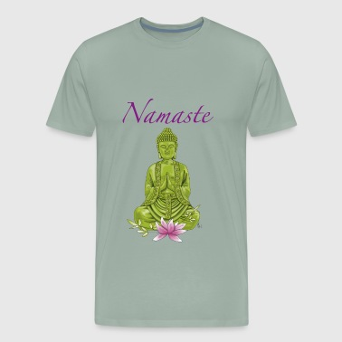 Bouddha namaste with pink lotus blossom - Men's Premium T-Shirt