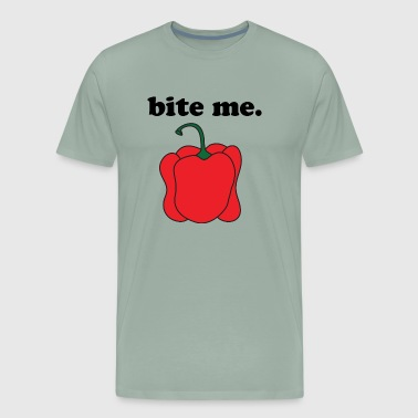bite me. (red bell pepper) BLACK TEXT - Men's Premium T-Shirt