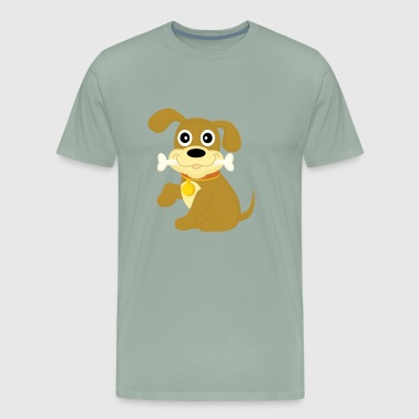 Little sweet dog with bone - Men's Premium T-Shirt