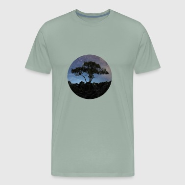 Night Sky Tree in a circle with purple sky - Men's Premium T-Shirt